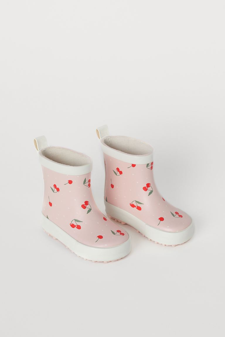 Patterned Rubber Boots - Light pink/cherries - Kids | H&M CA