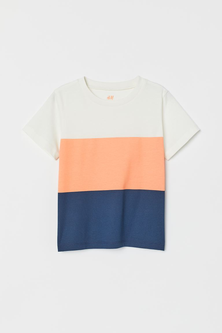 Cotton T-shirt - White/Block-coloured -  | H&M GB