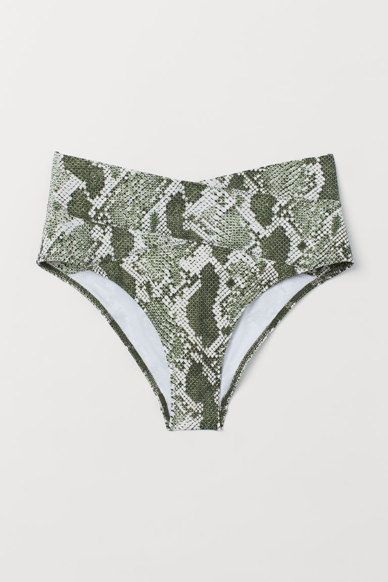 Bikini bottoms High Waist - Dark green/Snakeskin-patterned - Ladies   H&M GB