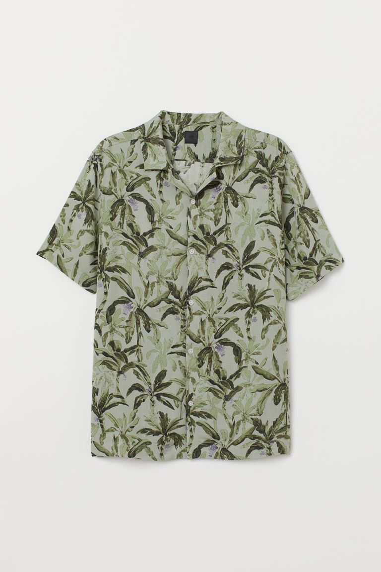 Patterned resort shirt - Khaki green/Patterned - Men | H&M GB