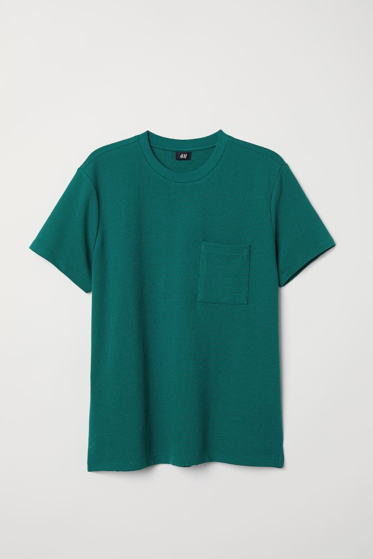 Jacquard-knit T-shirt - Dark green - Men | H&M
