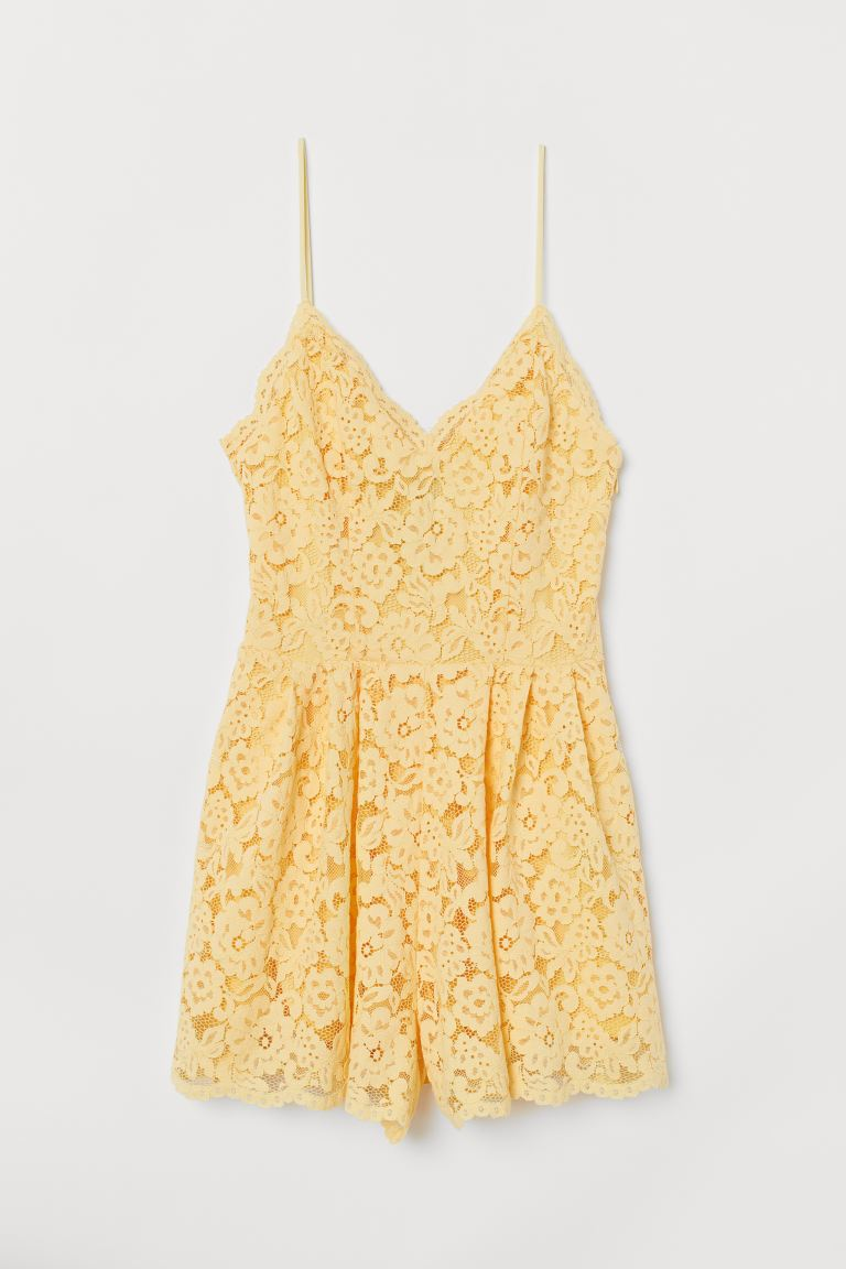 Lace playsuit - Light yellow - Ladies | H&M