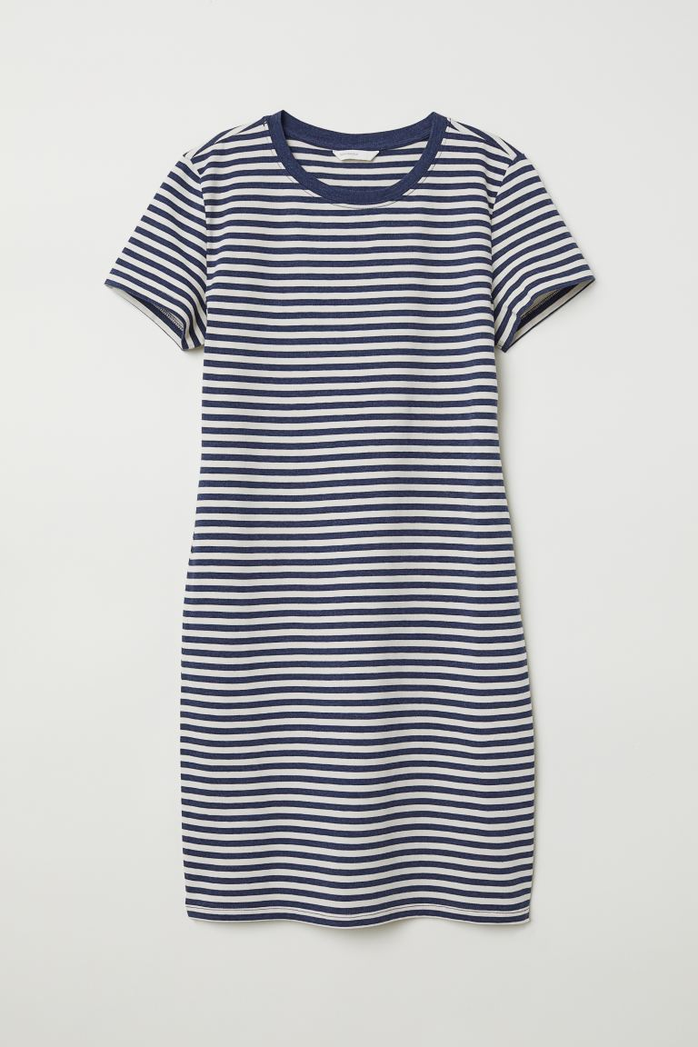 Jersey Dress - Natural white/blue striped - Ladies | H&M US