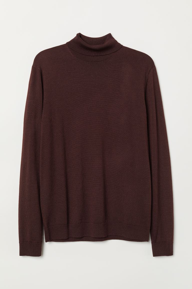 Merino wool polo-neck jumper - Burgundy - Men | H&M