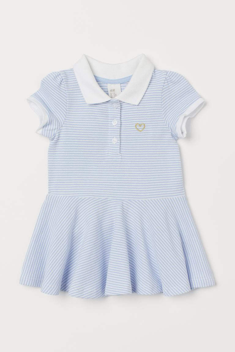Piqué dress - White/Blue striped - Kids | H&M IN