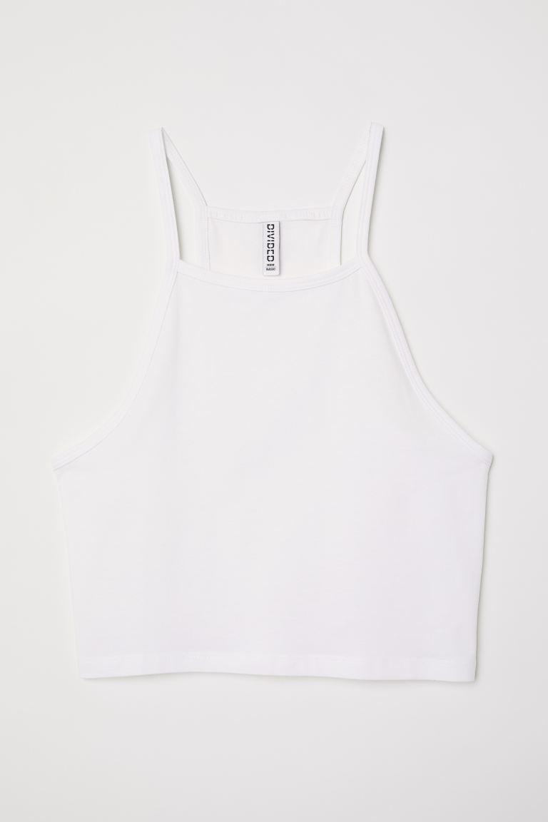 Short strappy top - White - Ladies | H&M GB