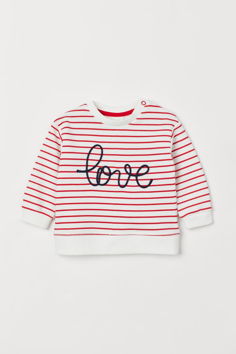 Sweat - Blanc/rayures rouges - ENFANT | H&M FR