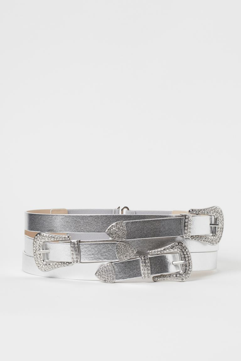 Shimmery Metallic Waist Belt - Silver-colored - Ladies | H&M US