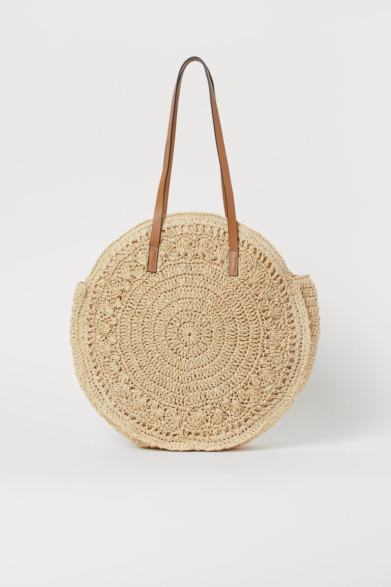 Round straw shopper - Light beige -  | H&M GB