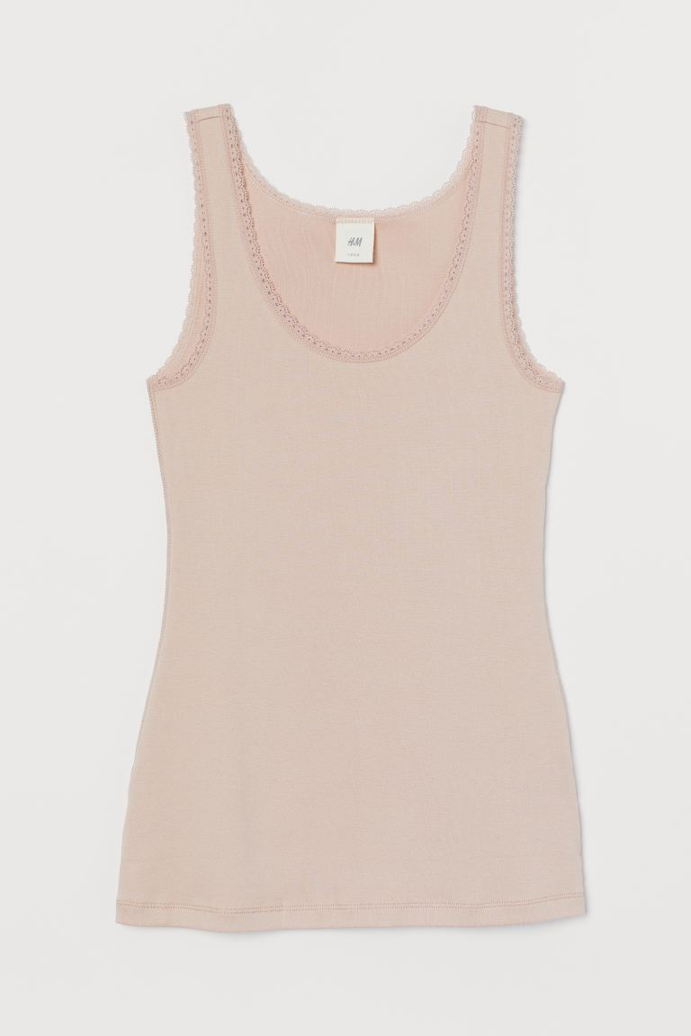 Lace-trimmed Tank Top - Powder pink - Ladies | H&M US