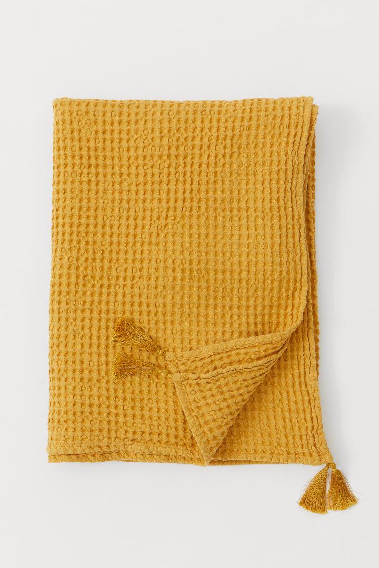 Comment Faire Du Jaune Moutarde plaid en coton gaufré