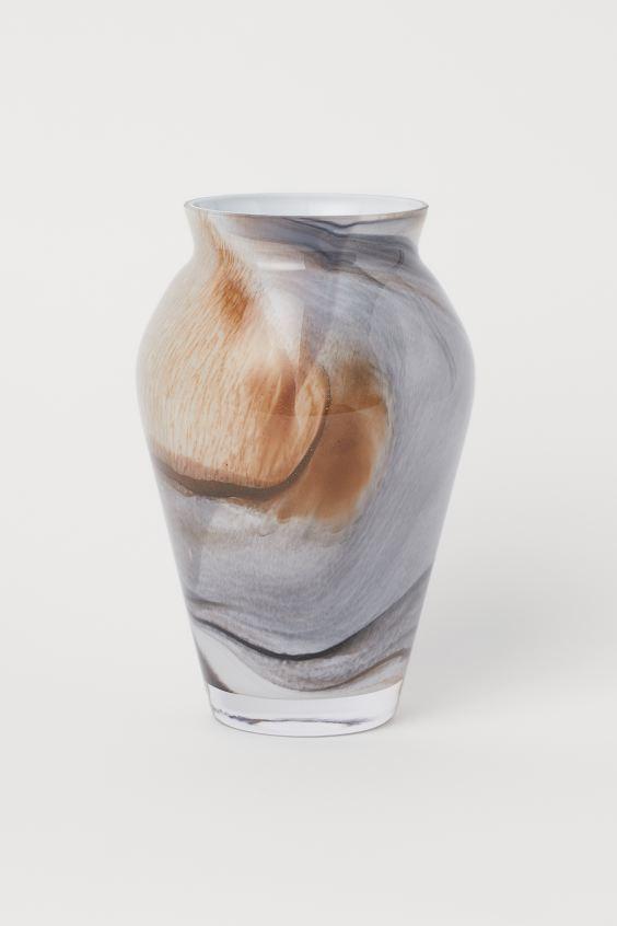 Vase en verre à motif - Gris foncé/multicolore - HOME | H&M BE 2