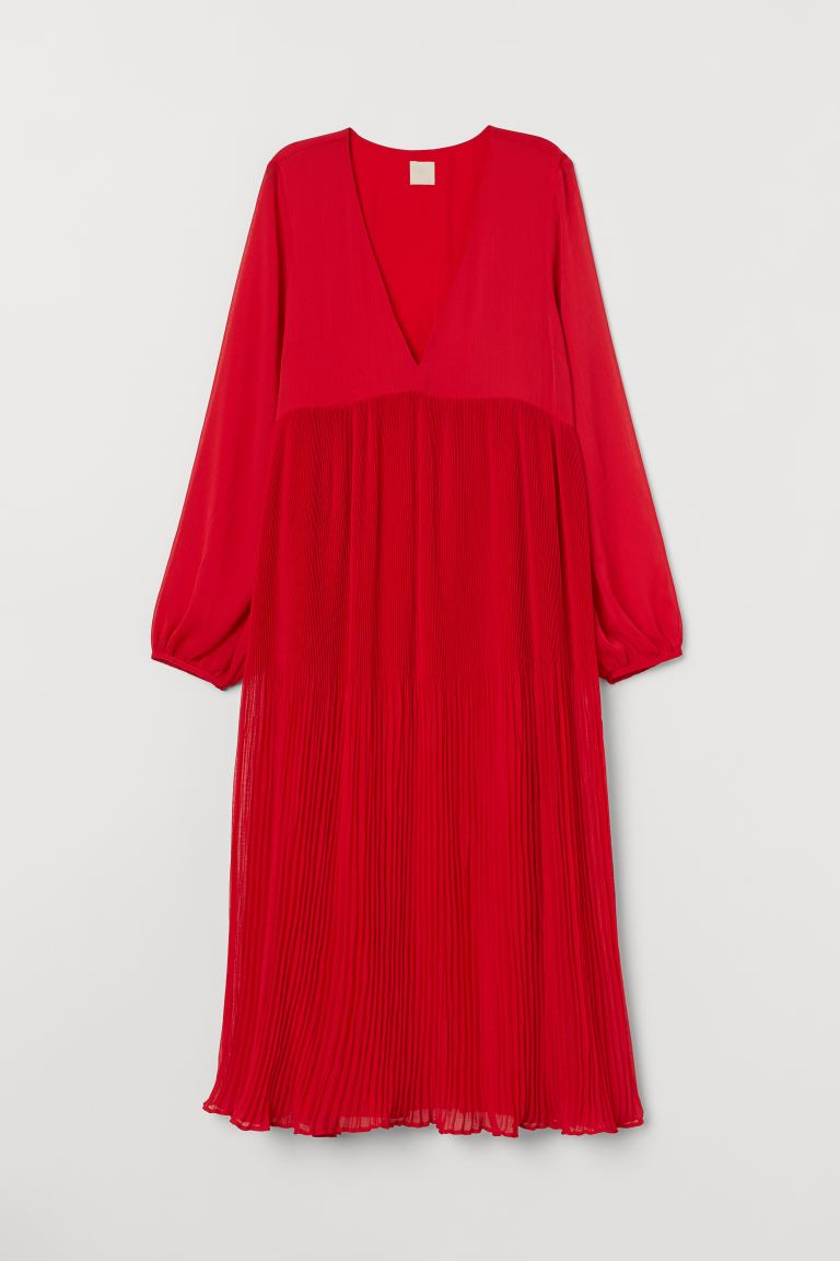 Wide-cut Chiffon Dress - Bright red - Ladies | H&M CA
