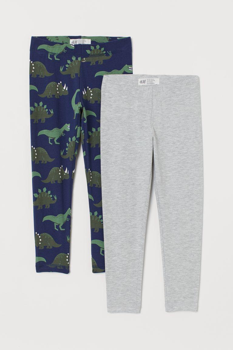 2-pack leggings - Dark blue/Dinosaurs - Kids | H&M GB