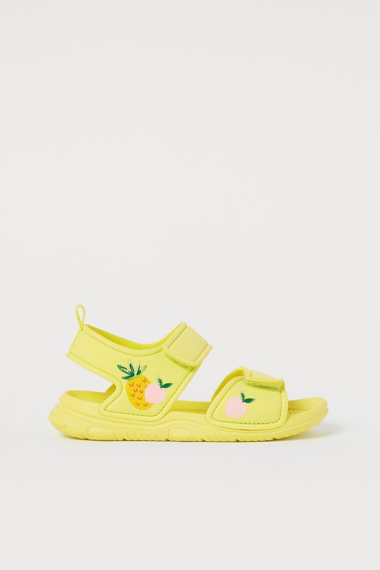 Patterned sandals - Neon yellow/Pineapple - Kids | H&M