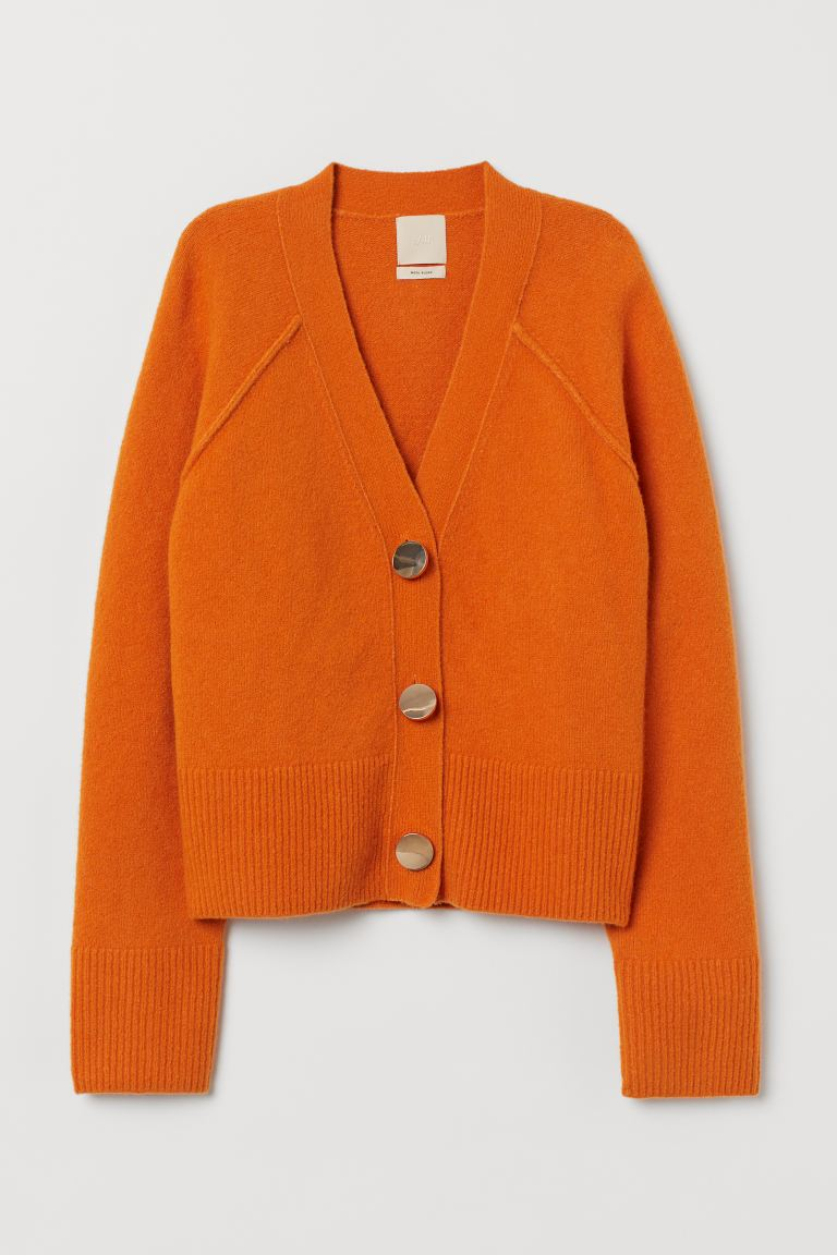 Boxy cardigan i ullmiks - Orange - DAME | H&M NO