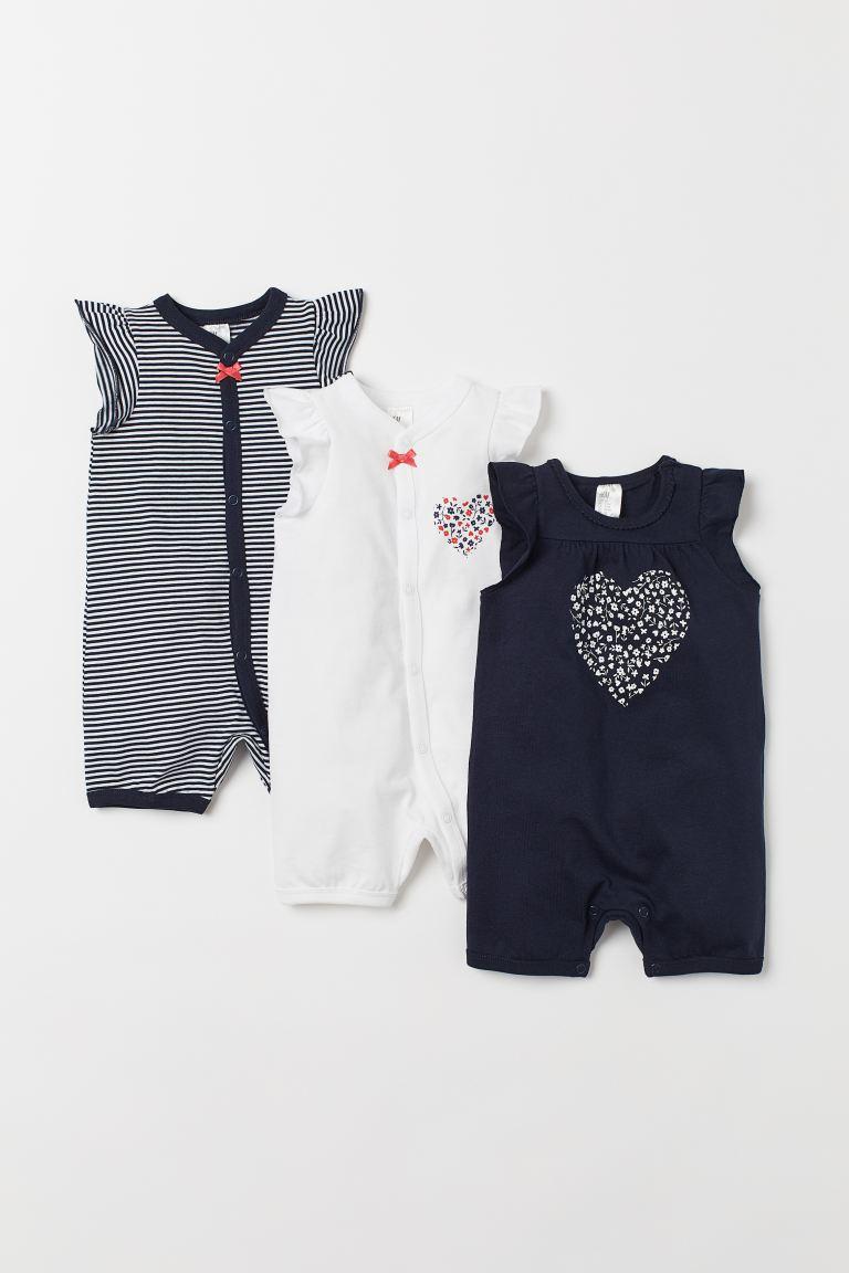 3-pack all-in-one pyjamas - Dark blue/Heart - Kids | H&M GB