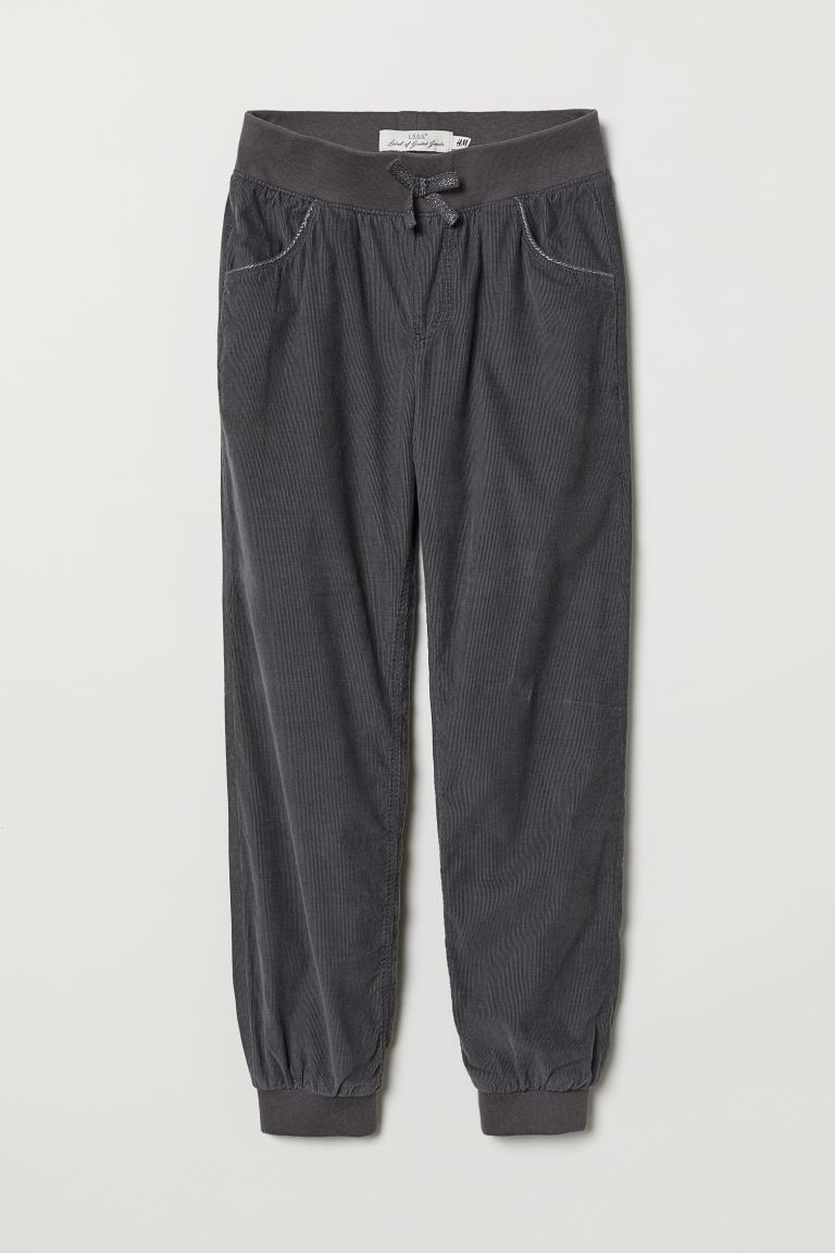 Lined corduroy trousers - Dark grey - Kids | H&M