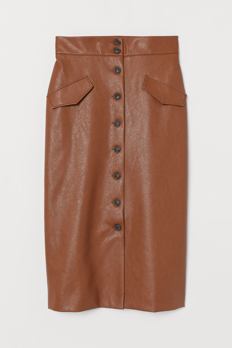 Image result for brown leather skirt