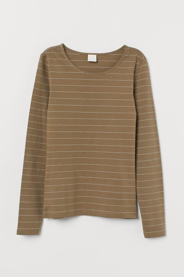 Long-sleeved jersey top - Khaki beige/Striped - Ladies   H&M GB