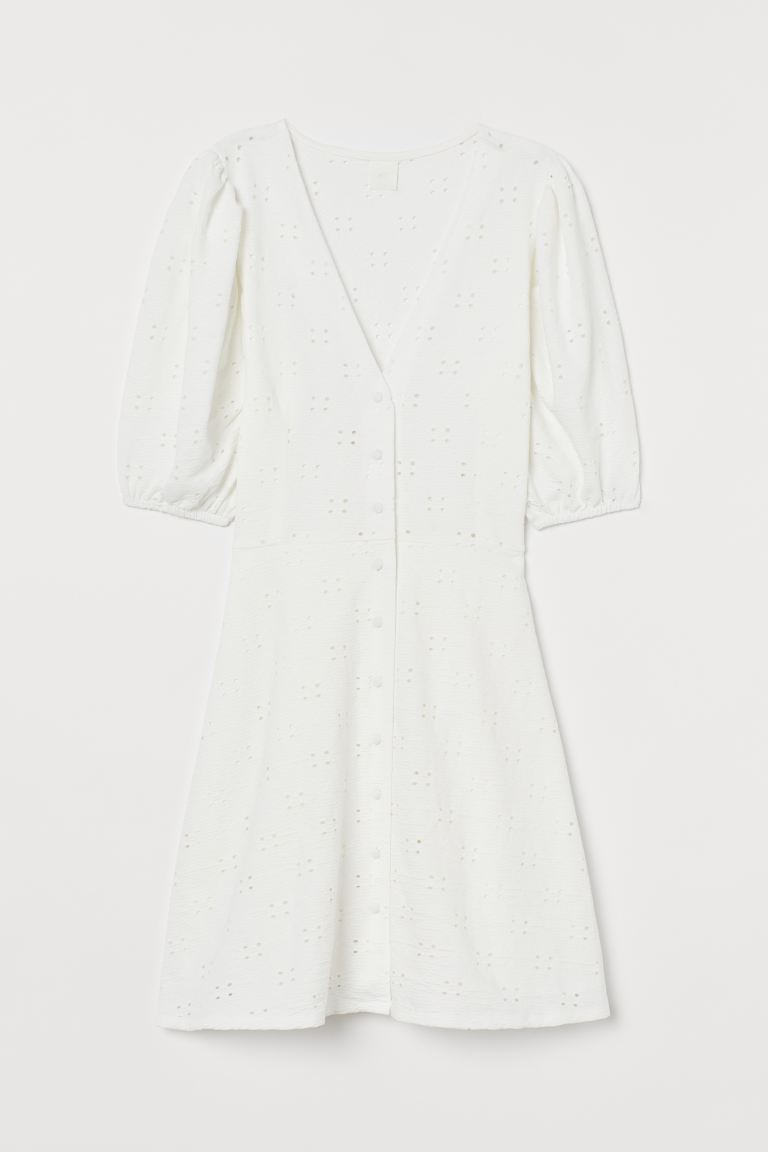 Baumwollkleid mit Puffärmeln - Weiß - Ladies | H&M DE