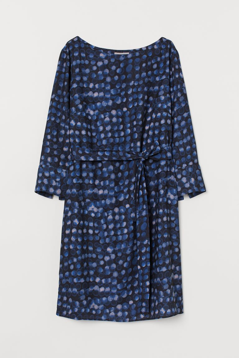 Dress with a tie belt - Black/Blue spotted -  | H&M