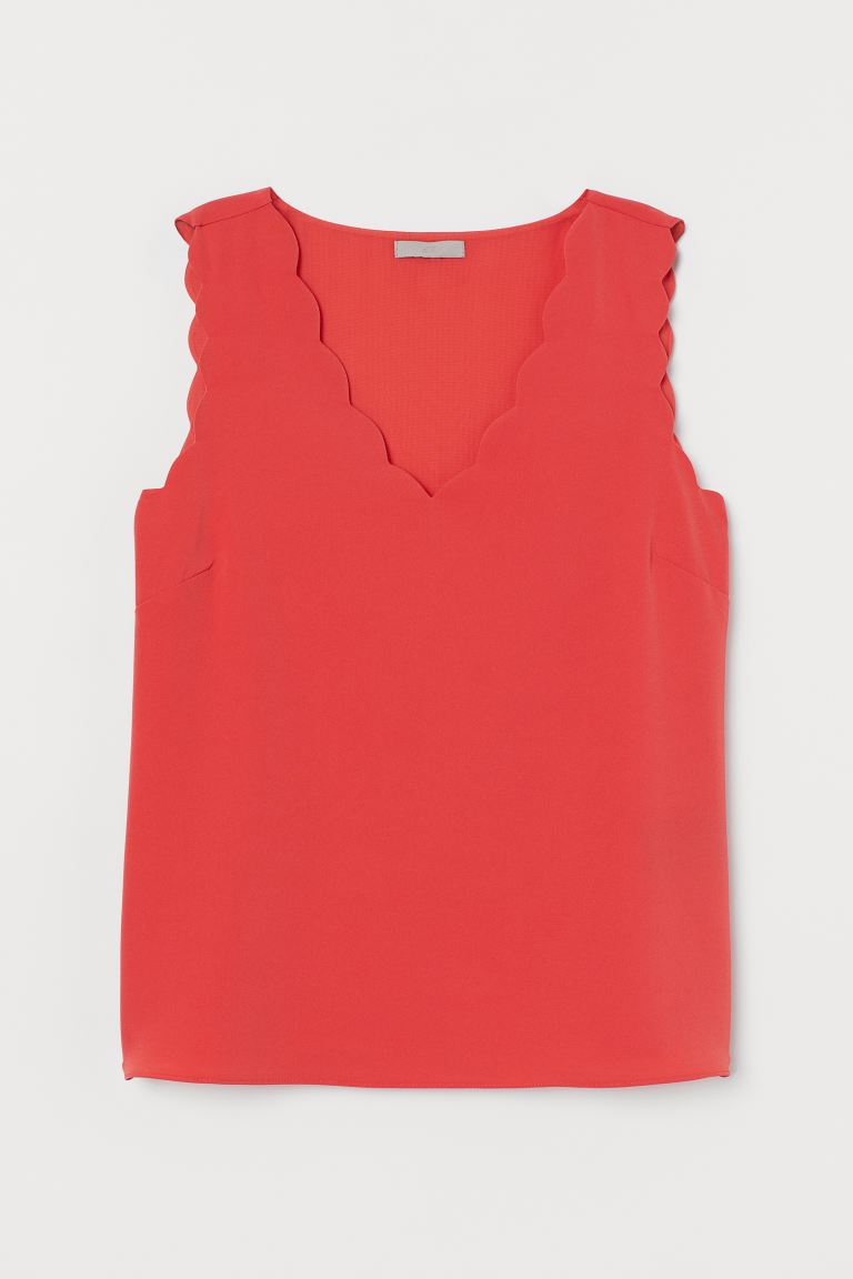 Sleeveless Blouse - Coral red -  | H&M US