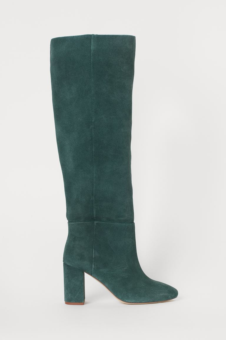 Suede Boots - Dark green - Ladies | H&M US