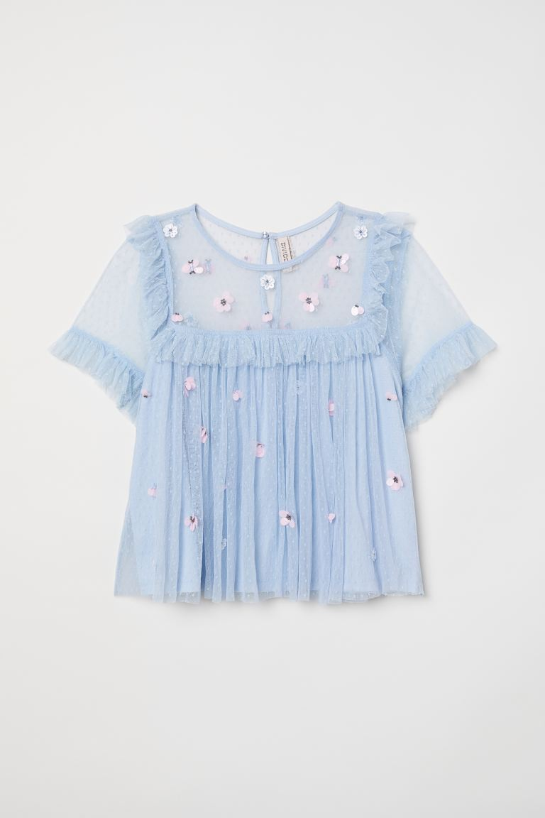 Mesh blouse with sequins - Light blue/Flowers - Ladies | H&M GB