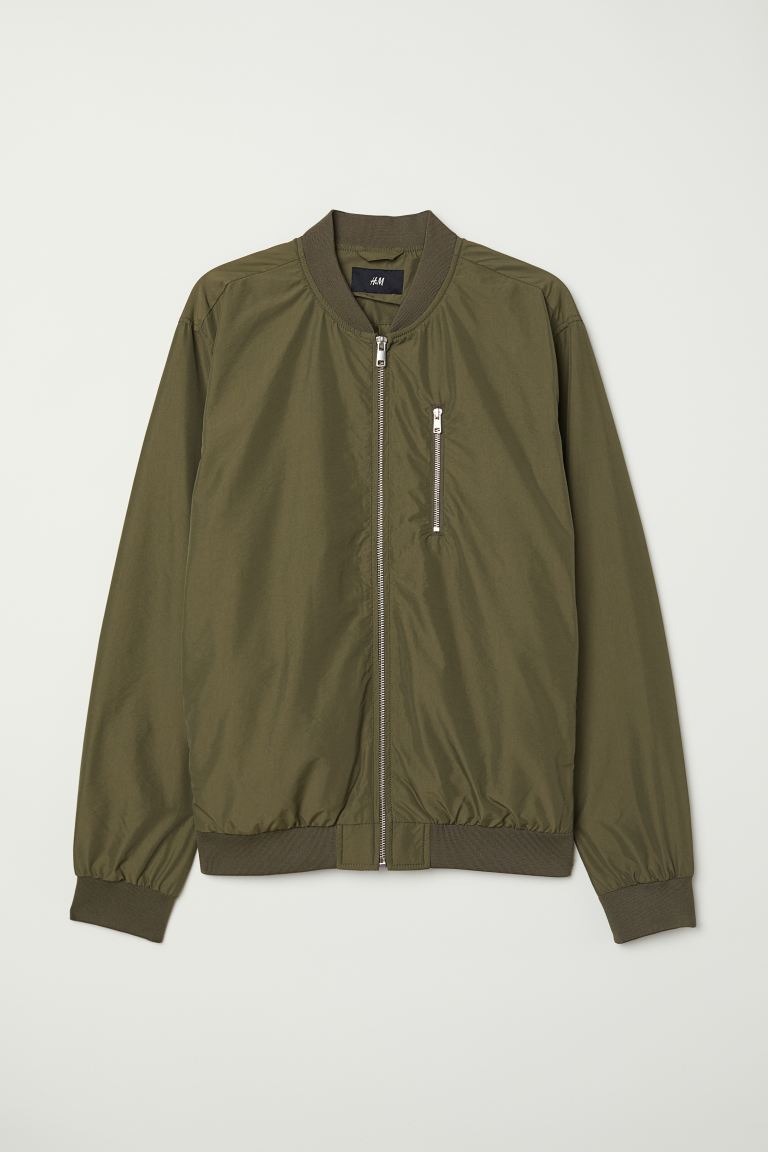 Nylon-blend Bomber Jacket - Dark khaki green - Men | H&M US
