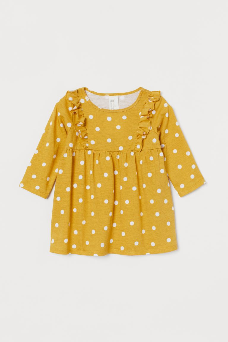 Frill-trimmed jersey dress - Mustard yellow/Spotted - Kids | H&M