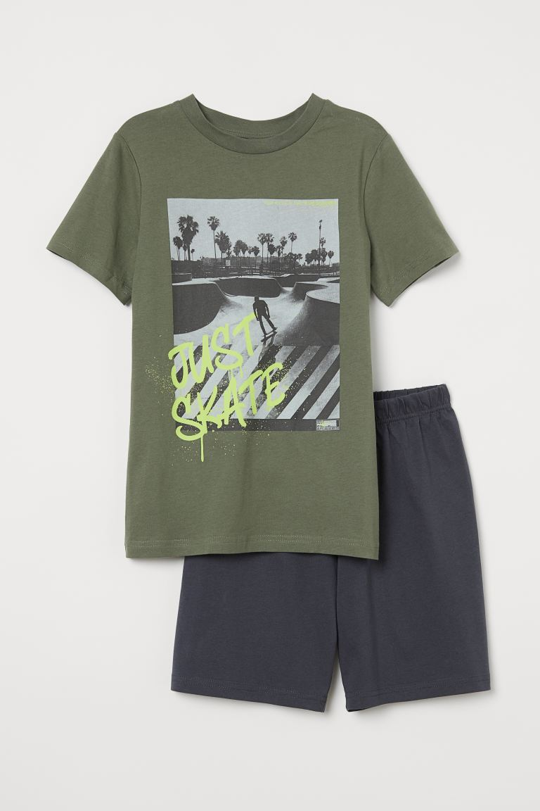 Cotton jersey pyjamas - Khaki green/Just Skate - Kids | H&M