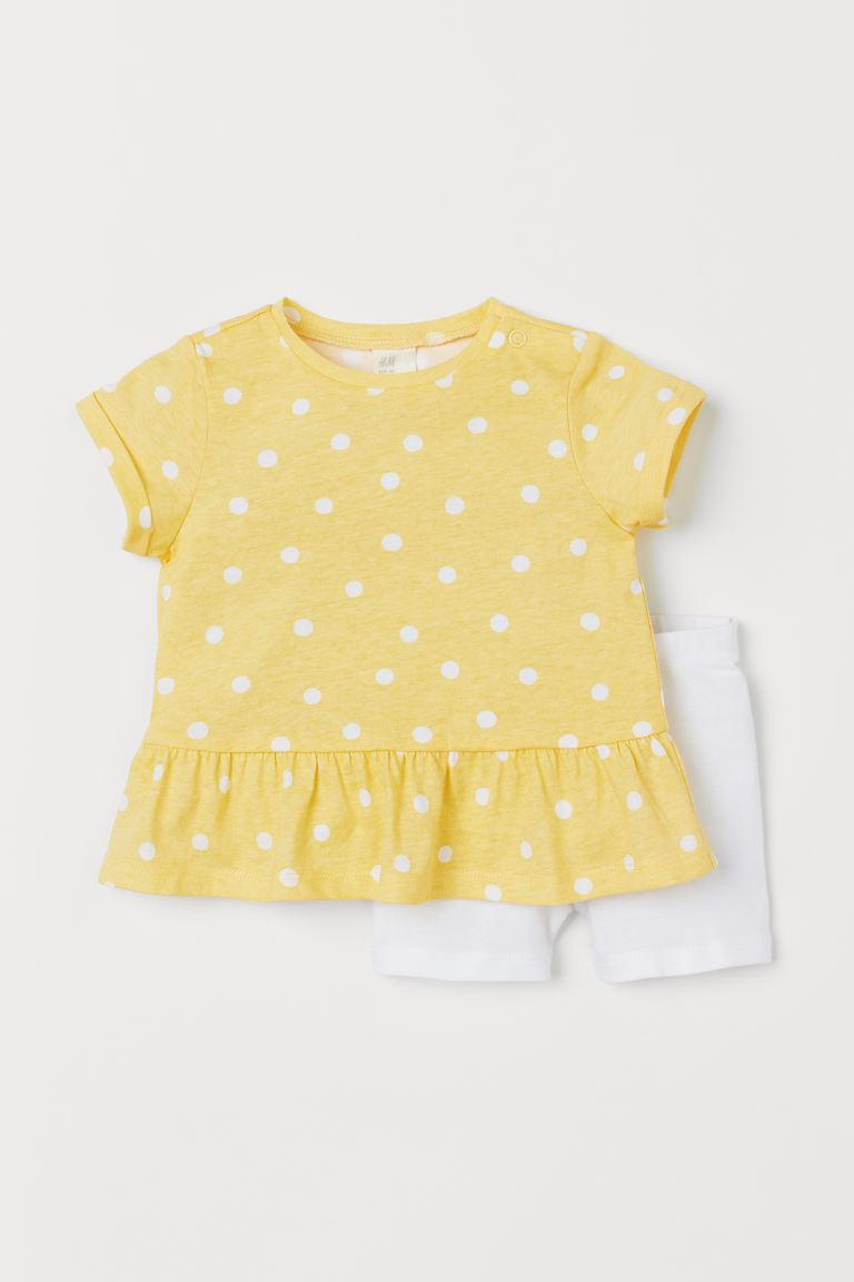 2-piece jersey set - Light yellow/Spotted -  | H&M