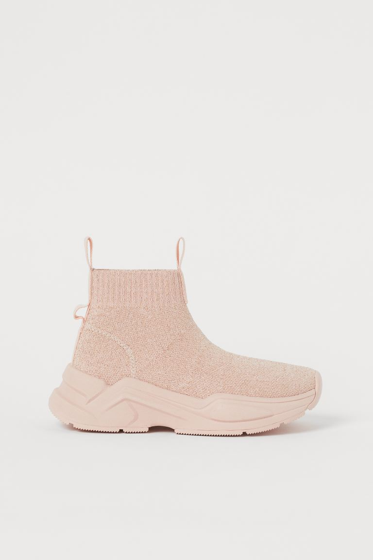 Fully-fashioned hi-tops - Powder pink/Gold-coloured - Kids | H&M