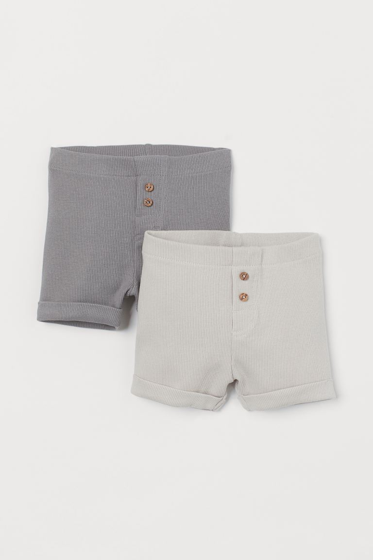2-pack cotton shorts - Grey/Light beige - Kids | H&M