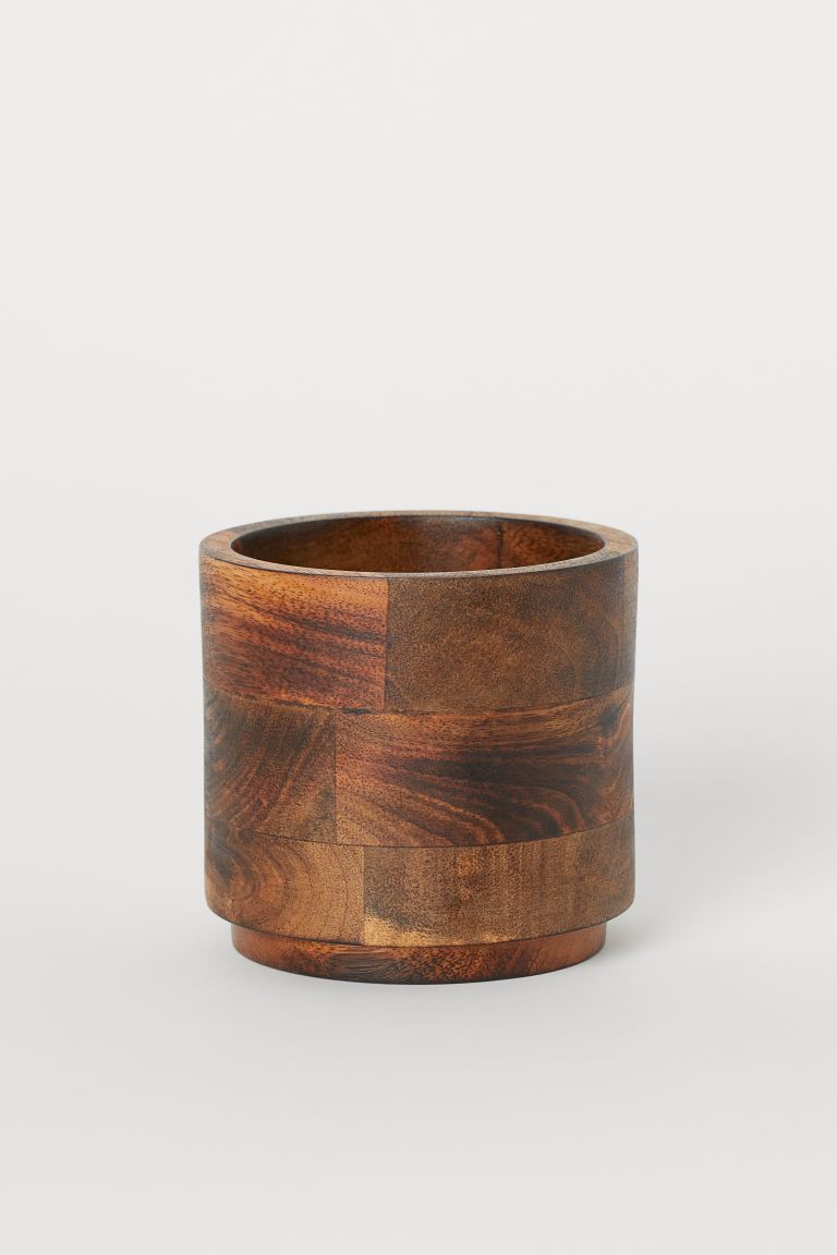 Small Wooden Plant Pot - Light brown/mango wood - Home All | H&M US 1
