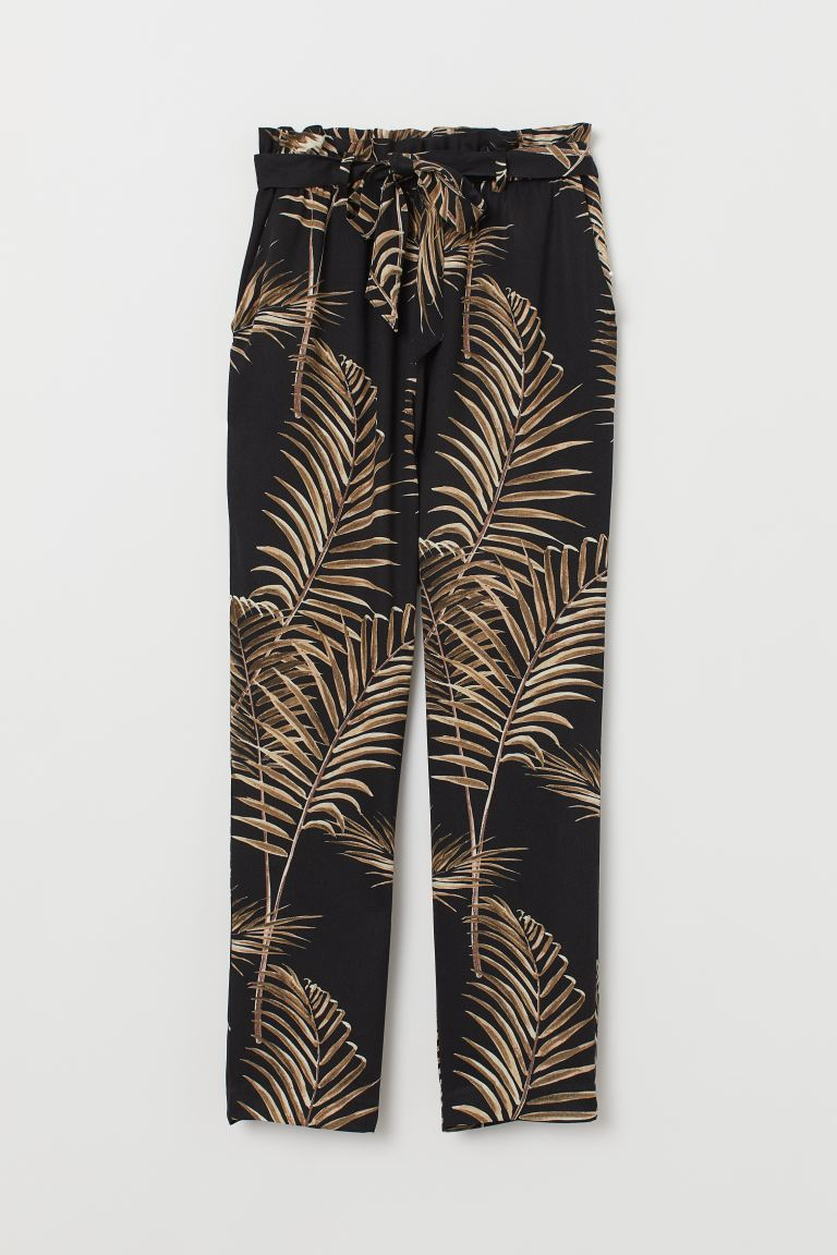Paper-bag Pants - Black/palm leaves - Ladies | H&M US