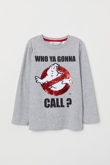 Shirt with Motif - Lt. gray melange/Ghostbusters - Kids | H&M CA