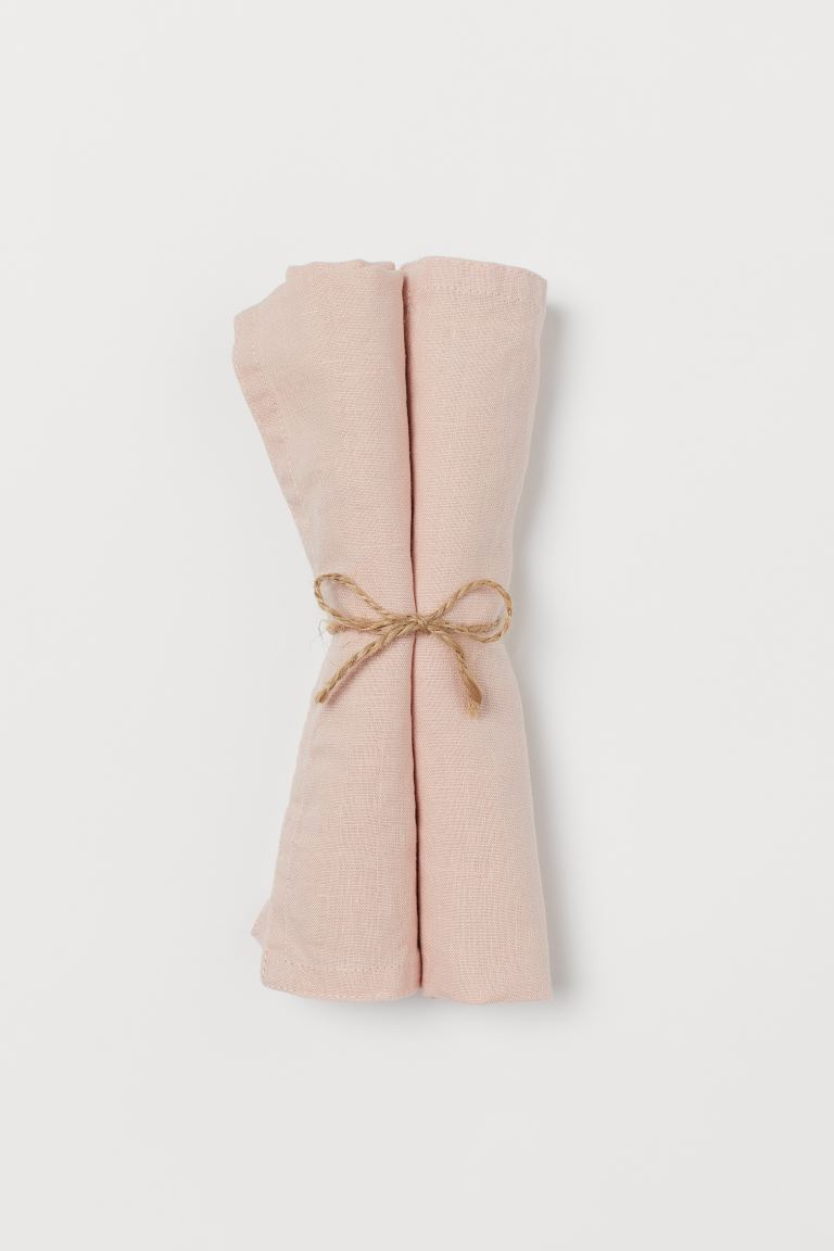 Serviettes en lin, lot de 2 - Rose clair - HOME | H&M BE