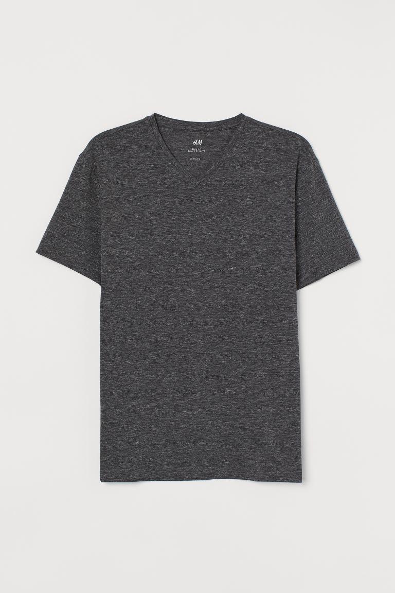 V-neck T-shirt Slim Fit - Dark grey marl - Men | H&M GB
