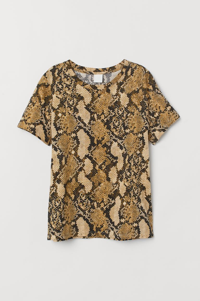 T-shirt - Beige/Snakeskin-patterned - Ladies | H&M