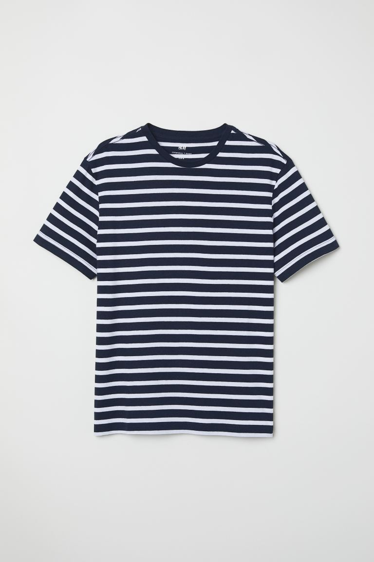 Round-neck T-shirt Regular Fit - Dark blue/White striped - Men | H&M GB