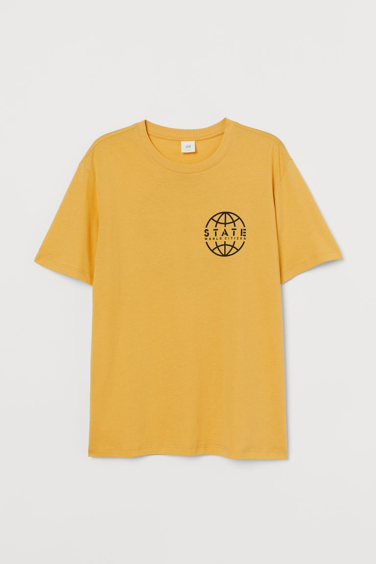 T-shirt with Printed Design - Yellow/State World Citizen - Men | H&M US