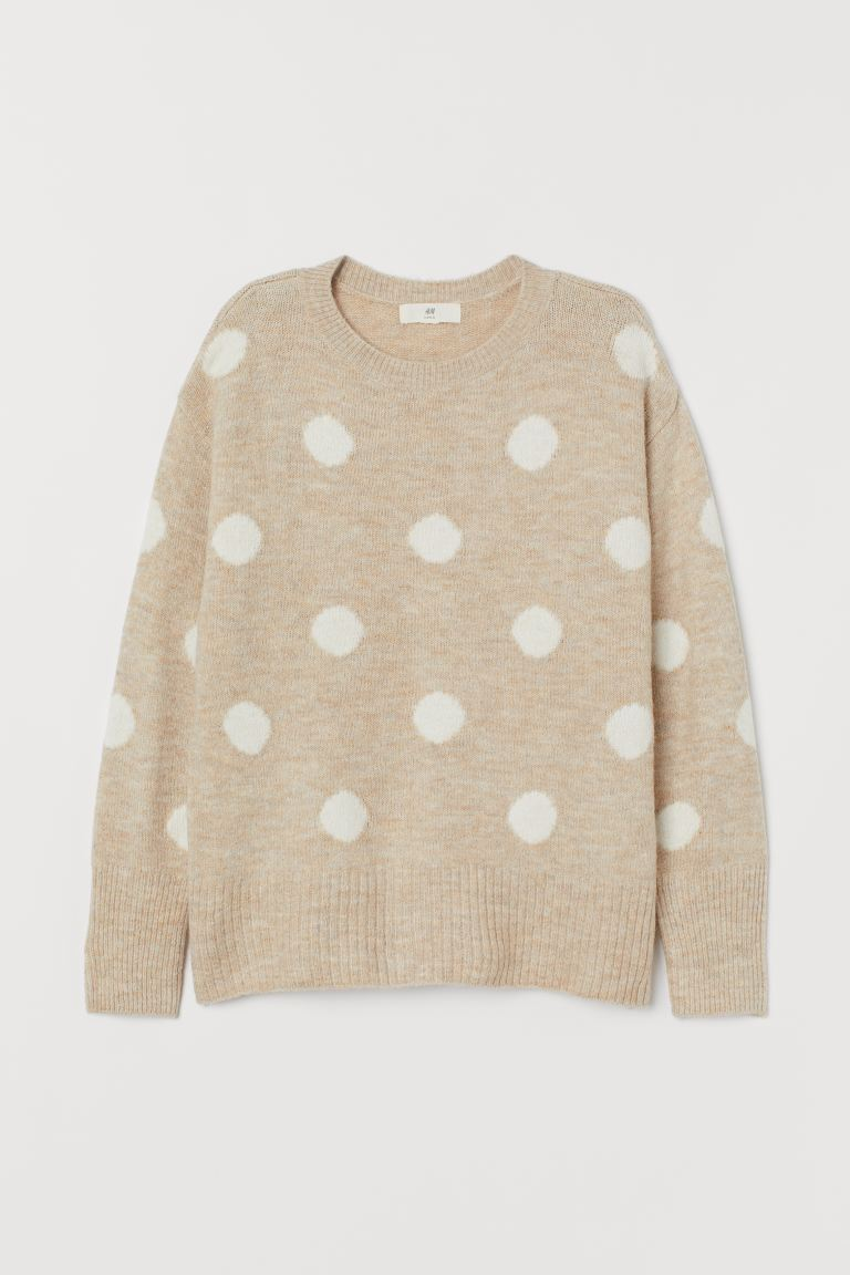 Knitted jumper - Light beige/White spotted - Ladies | H&M IE