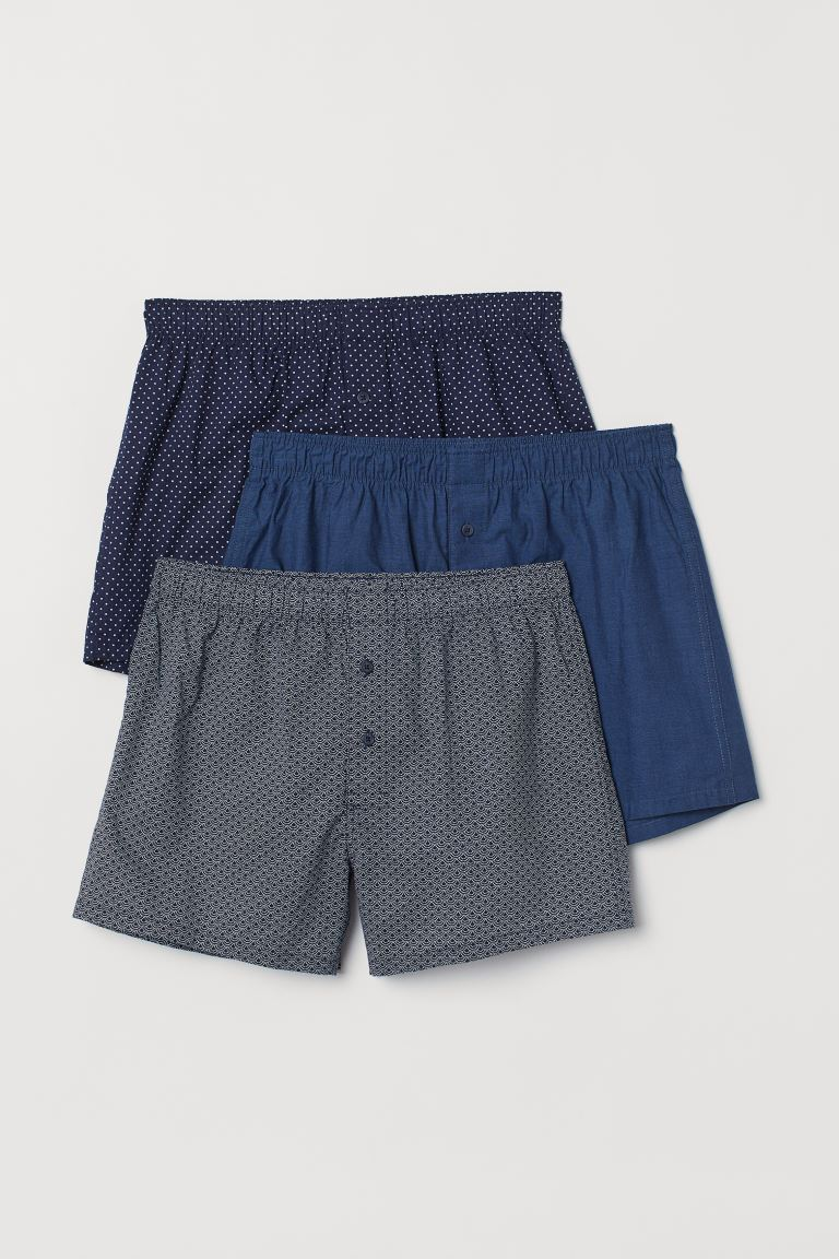 3-pack woven boxer shorts - Dark blue/Spotted - Men | H&M