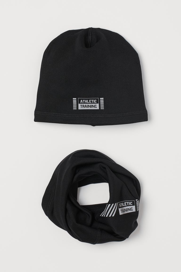 Fleece hat and tube scarf - Black - Kids | H&M