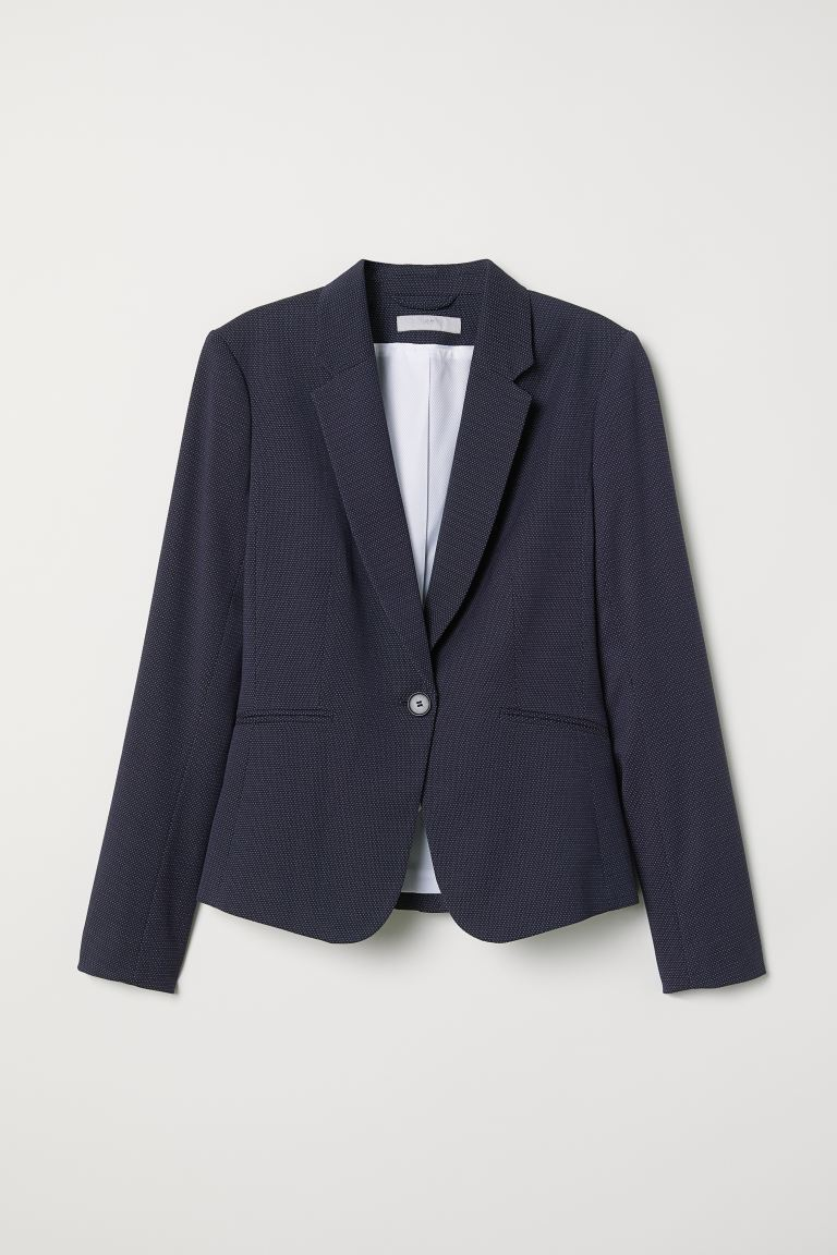 Fitted Blazer - Dark blue/dotted - Ladies | H&M US