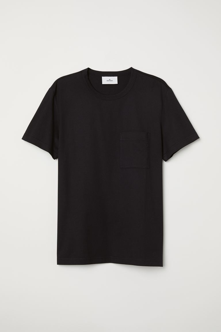 T-shirt with a chest pocket - Black - Men | H&M GB