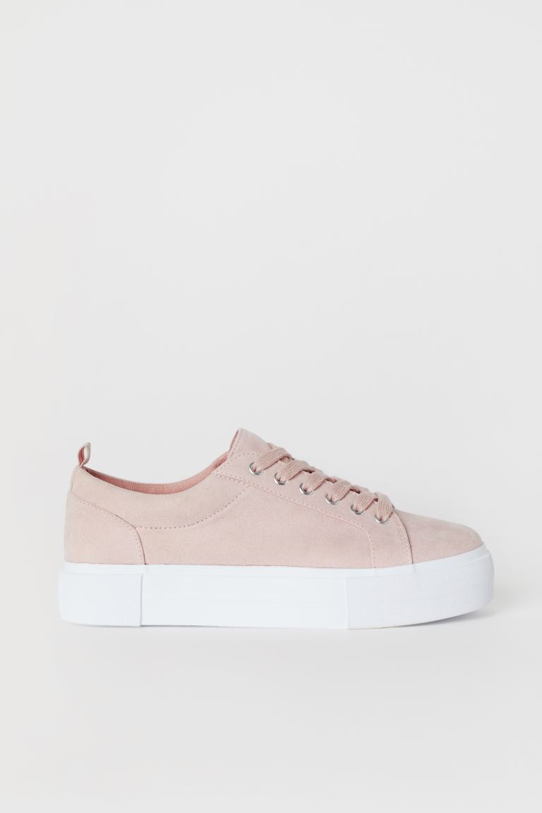 Platform Sneakers - Powder pink/faux suede - Ladies | H&M CA