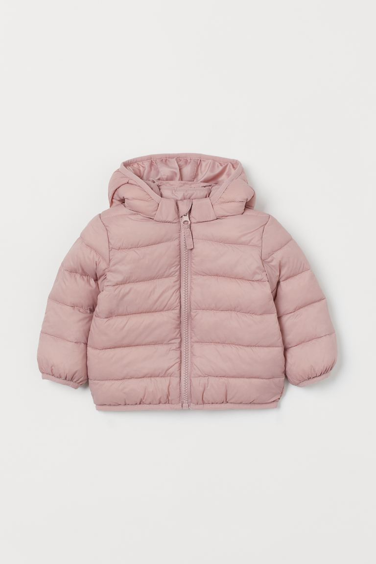 Hooded puffer jacket - Light pink -  | H&M